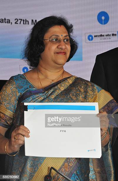 SmtArundhati Bhattacharyya Chairman of State Bank of India during meet the press and to announce Banks Results on May 272016 in KolkataIndia