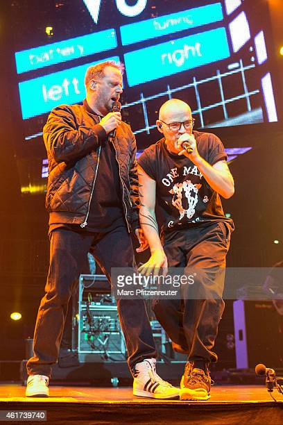 Smudo and Thomas D of german hip hop group 'Die Fantastischen Vier' perform on stage at the Lanxess Arena on January 18 2015 in Cologne Germany
