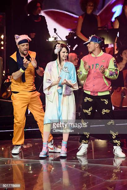 Smudo JamieLee Kriewitz and Michi Beck attend the TV show 'The Voice Of Germany Finals' on December 17 2015 in Berlin Germany