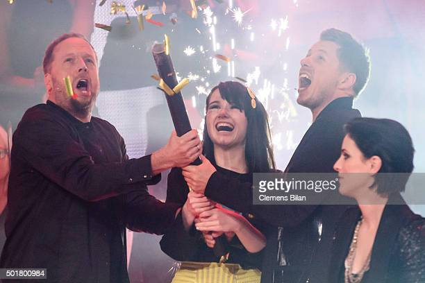 Smudo JamieLee Kriewitz Michi Beck and Stefanie Kloss attend the TV show 'The Voice Of Germany Finals' on December 17 2015 in Berlin Germany
