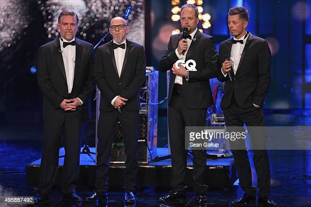 Smudo of Die Fantastischen Vier speaks after receiving an award on stage at the GQ Men of the year Award 2015 show at Komische Oper on November 5...