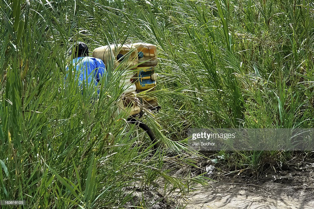 A smuggler pushes a bicycle loaded with gasoline barrels on the shore of the river Tachira on the Colombia-Venezuela border, on 2 May 2006 in La Parada, Colombia. Venezuelan gasoline, being 20 times cheaper than in Colombia, is the most wanted smuggling item, followed by food and car parts, while reputable Colombian clothing flow to Venezuela. There are about 25,000 barrels of gasoline crossing illegally the Venezuelan border every day. The risky contraband smuggling, especially during the rainy season when the river rises, makes a living to hundreds of poor families in communities on both sides of the frontier.