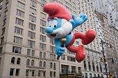 Smurf Ballon at Macy's 2014 88th Thanksgiving Day Parade The Manhattan Borough of New York New York USA