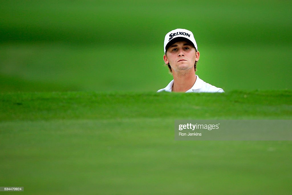 <a gi-track='captionPersonalityLinkClicked' href=/galleries/search?phrase=Smylie+Kaufman&family=editorial&specificpeople=13916602 ng-click='$event.stopPropagation()'>Smylie Kaufman</a> follows a shot on the second green during the First Round of the DEAN & DELUCA Invitational at Colonial Country Club on May 26, 2016 in Fort Worth, Texas.