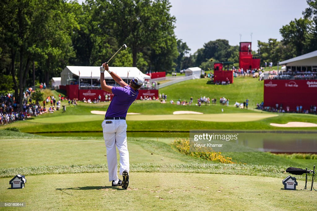 Smylie Kaufman tees off on the 10th hole during the final round of the Quicken Loans National at Congressional Country Club (Blue) on June 26, 2016 in Bethesda, Maryland.