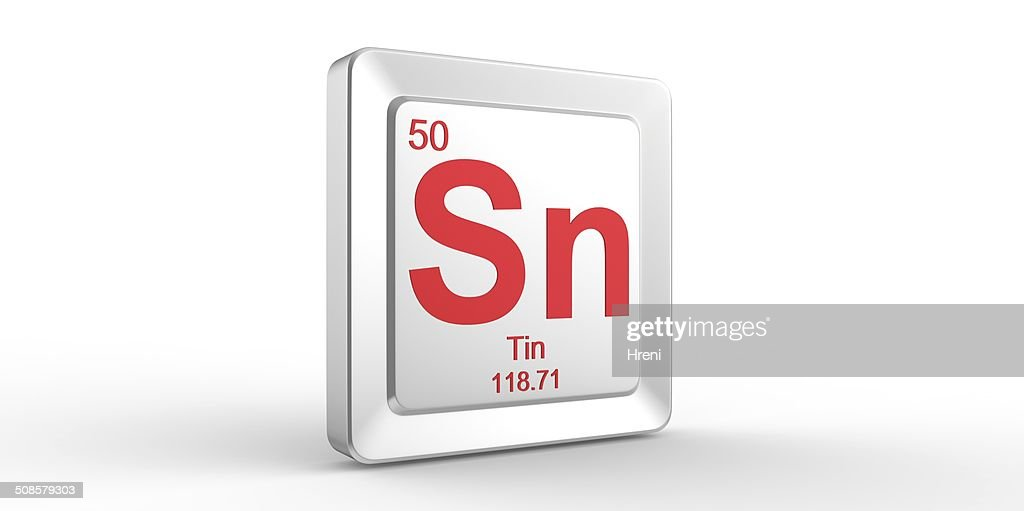 Sn symbol 50 material for Tin chemical element : Stock Photo