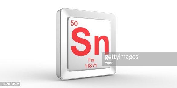 Sn simbolo 50 materiale per elemento chimico stagno : Foto stock