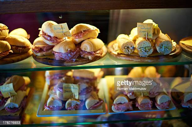 Snack and pastry in window shop