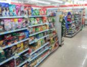 snack in shelf at supermarket on blur background