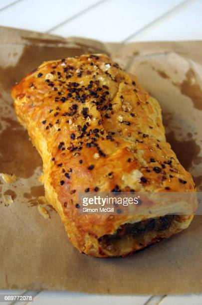 Snack of a take away pork sausage roll