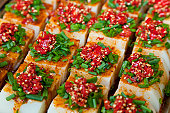 Snacks on street stall, Chengdu, Sichuan, China