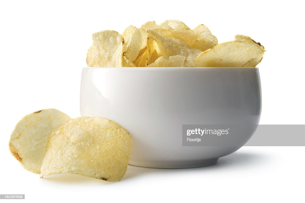 Snacks: Potato Chips in Bowl : Stock Photo