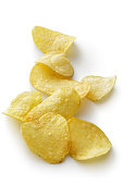 Snacks: Potato Chips Isolated on White Background