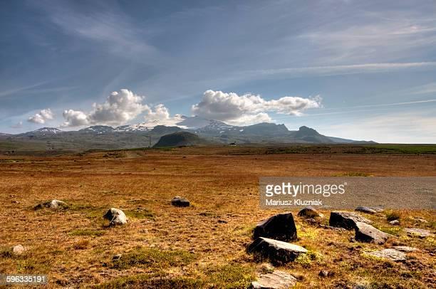 Snaefellsjokull and volcanic barren landscape