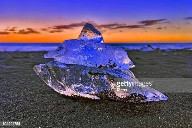 Snail Ice At Diamond beach, Iceland