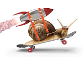 snail with a rocket doing a stunt