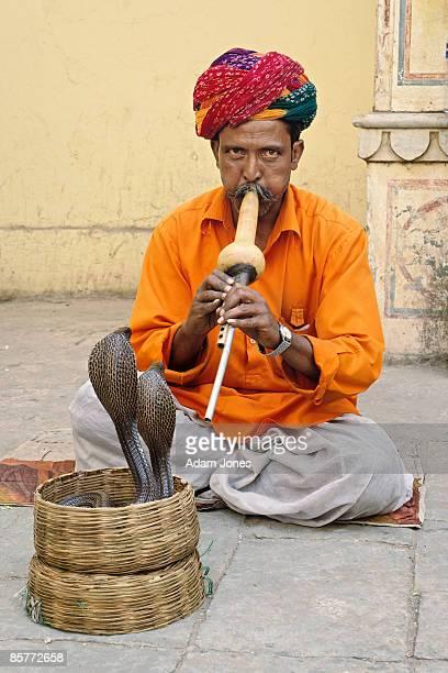 Snake charmer and cobras