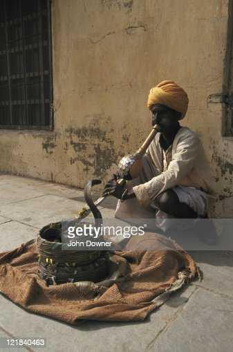 Snake Charmer With Indian Cobra Stock Photo