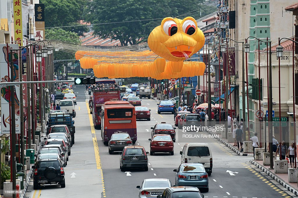A snake shaped lantern figurine hangs above a road in Singapore on January 13, 2013. The lanterns are displayed as part of the Chinese Lunar new year celebration which falls on February 10.