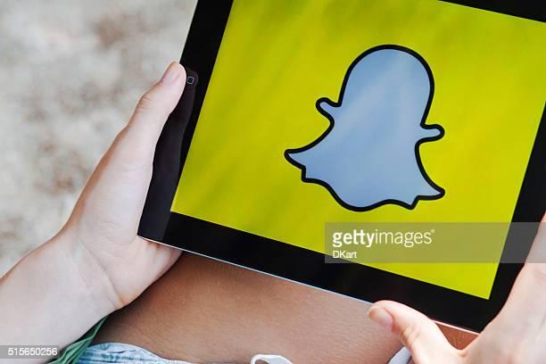 Snapchat App on Ipad display