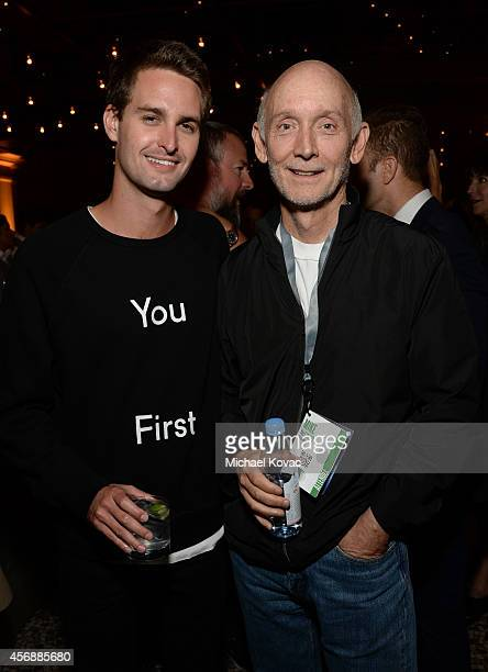 Snapchat CEO Evan Spiegel and CitizenNet Founder and President Mike McGinley attend the Vanity Fair New Establishment Summit Cockatil Party on...
