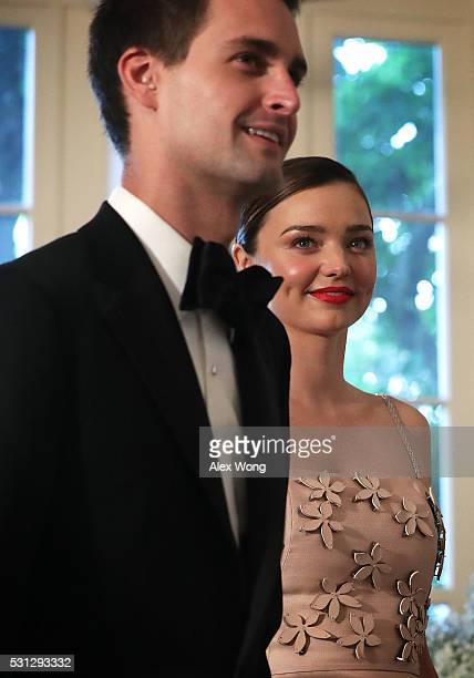 Snapchat CEO Evan Spiegel and his model girlfriend Miranda Kerr arrive at a Nordic State Dinner May 13 2016 at the White House in Washington DC...