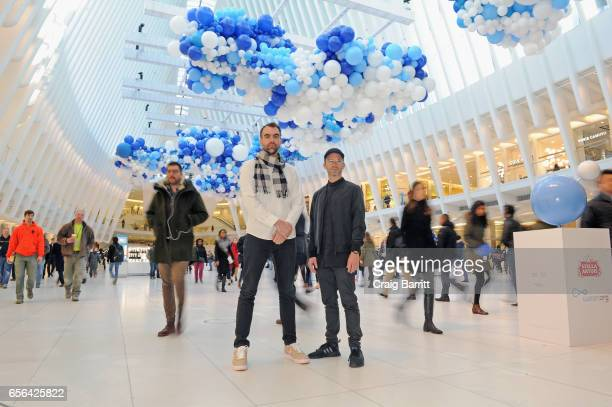 "Snarkitecture CoFounders Daniel Arsham and Alex Mustonen join Stella Artois to unveil ""The Water Clouds by Stella Artois"" a public art installation..."