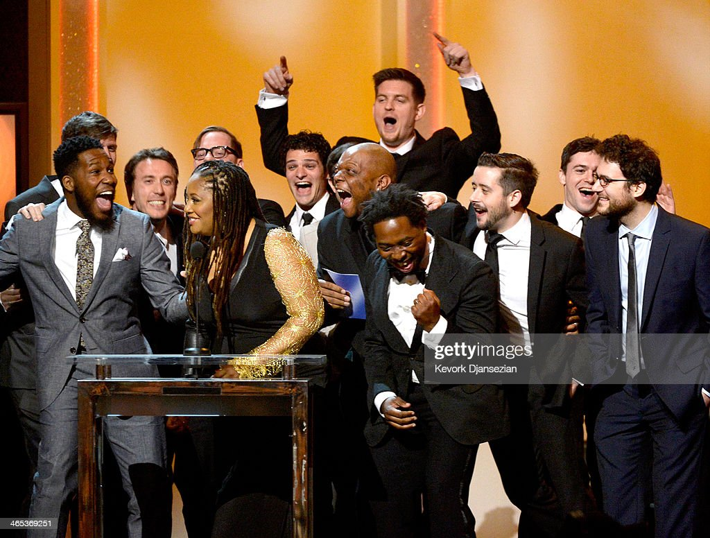 Snarky Puppy musicians Robert 'Sput' Searight, Lalah Hathaway and Michael League accept the Best R&B Performance award for 'Something' onstage during the 56th GRAMMY Awards Pre-Telecast Show at Nokia Theatre L.A. Live on January 26, 2014 in Los Angeles, California.