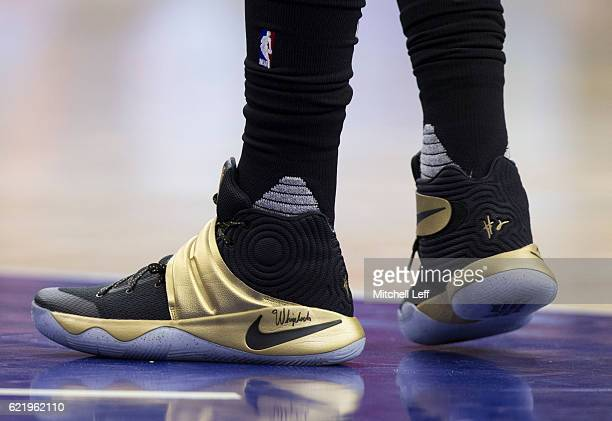 Sneaker detail of Kyrie Irving of the Cleveland Cavaliers against the Philadelphia 76ers at Wells Fargo Center on November 5 2016 in Philadelphia...