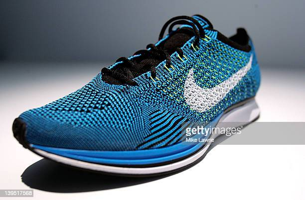 A sneaker with Nike's new Flyknit technology is seen during Nike's introduction of new basketball and training technology at Basketball City Pier 36...