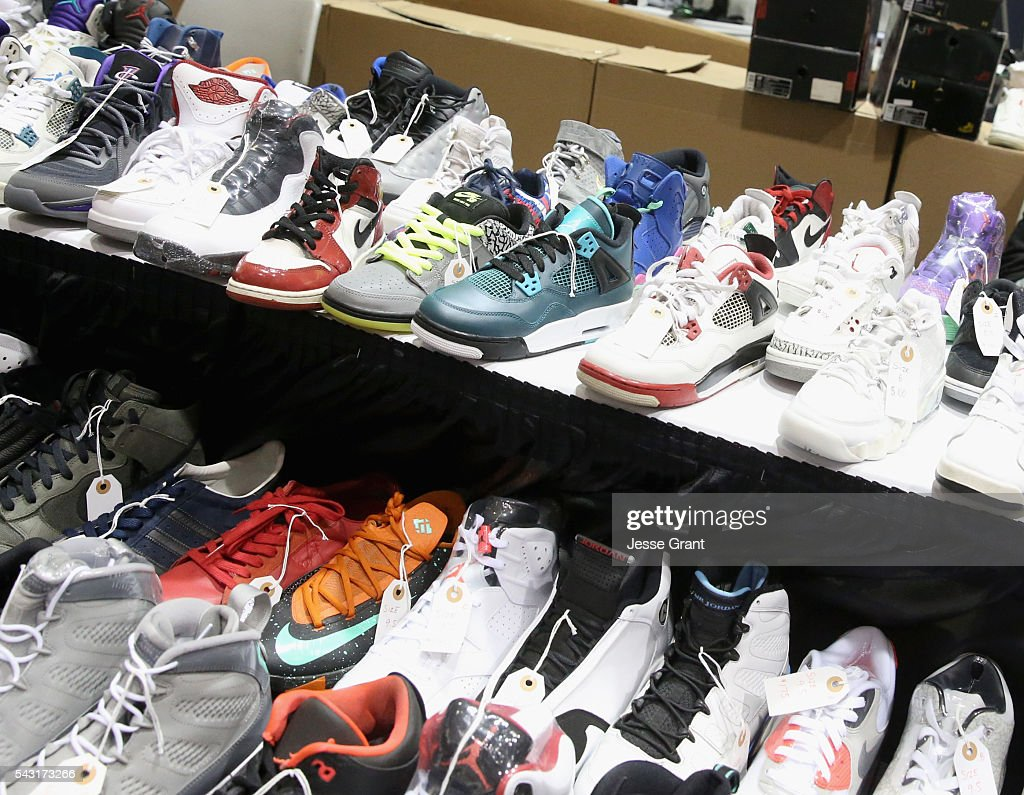 Sneakers are seen at SneakerCon presented by Sprite, Rush Card, & FDA during the 2016 BET Experience at Los Angeles Convention Center on June 26, 2016 in Los Angeles, California.