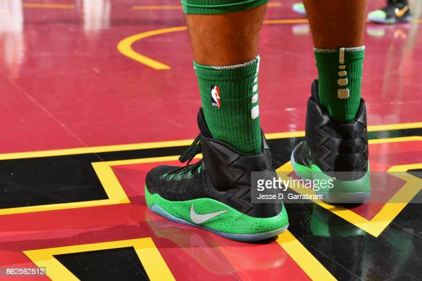 Sneakers of Al Horford of the Boston Celtics during the game against the Cleveland Cavaliers on October 17 2017 at Quicken Loans Arena in Cleveland...