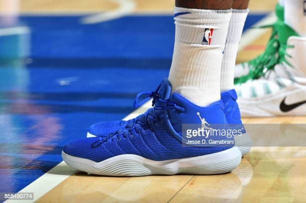 Sneakers of Amir Johnson of the Philadelphia 76ers during the game against the Boston Celtics during a preseason on October 6 2017 at Wells Fargo...