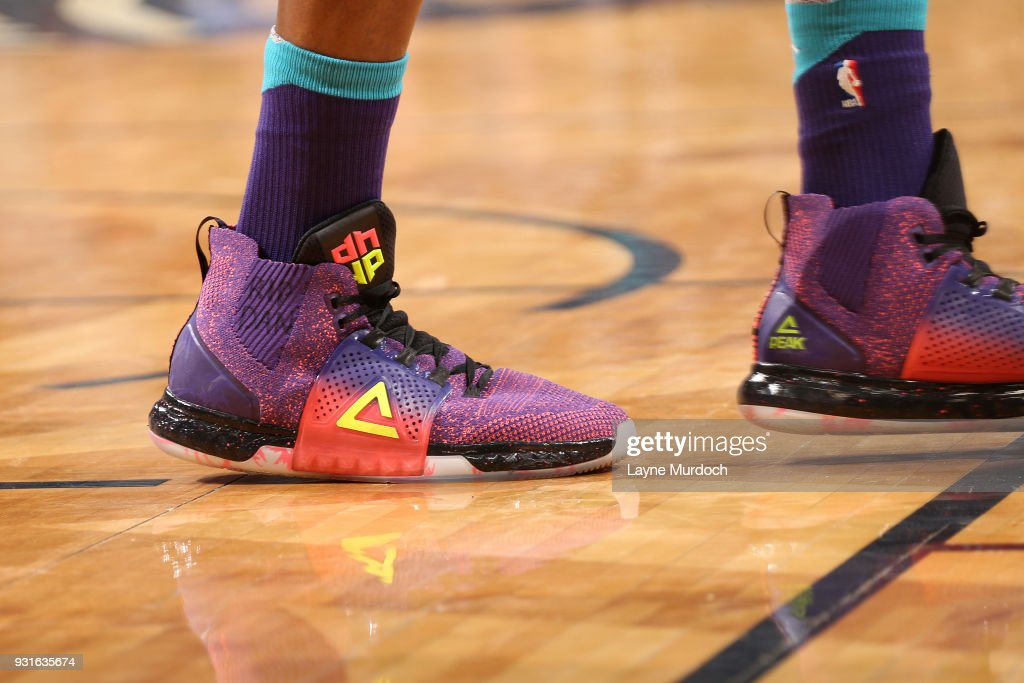 Sneakers of Dwight Howard #12 of the Charlotte Hornets during the game against the New Orleans Pelicans on March 13, 2018 at Smoothie King Center in New Orleans, Louisiana.