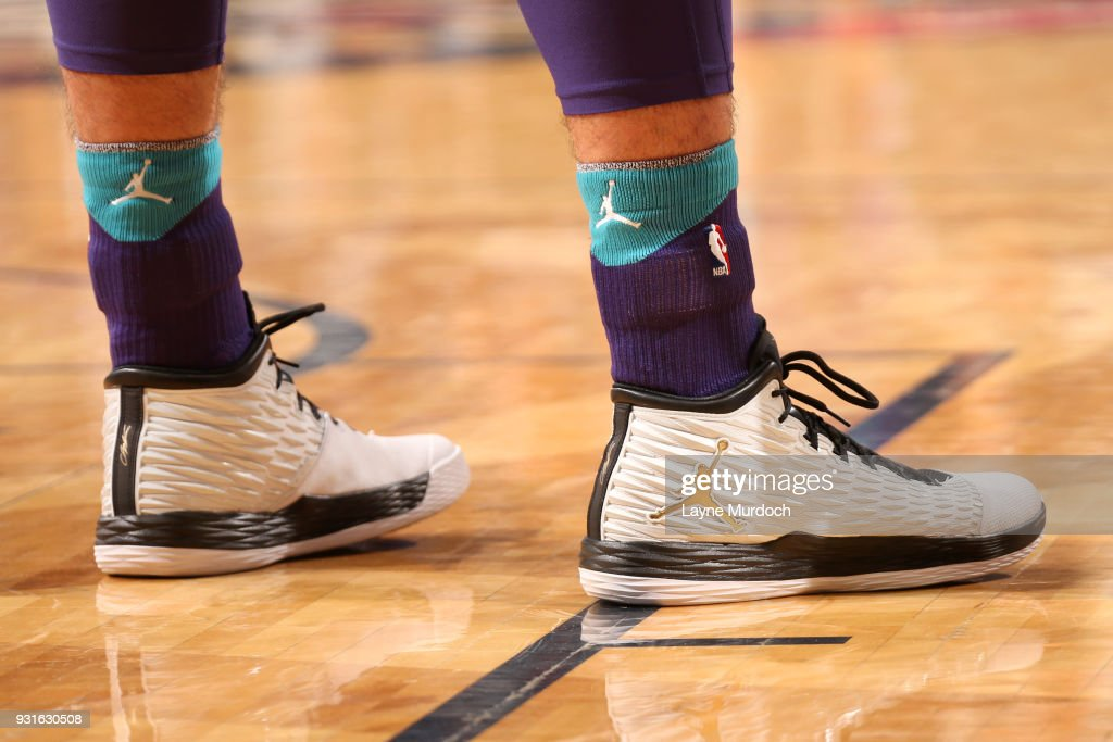 Sneakers of Frank Kaminsky #44 of the Charlotte Hornets during the game against the New Orleans Pelicans on March 13, 2018 at Smoothie King Center in New Orleans, Louisiana.