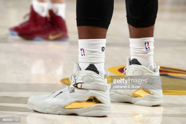 Sneakers of Iman Shumpert of the Cleveland Cavaliers during the game against the Golden State Warriors in Game Three of the 2017 NBA Finals on June 7...