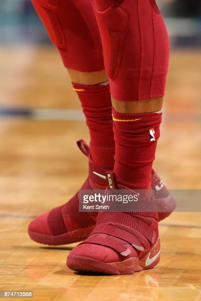 Sneakers of Jae Crowder of the Cleveland Cavaliers during the game against the Charlotte Hornets on November 15 2017 at Spectrum Center in Charlotte...