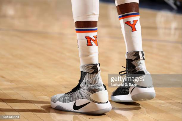 Sneakers of Justin Holiday of the New York Knicks during the game against the Philadelphia 76ers on February 25 2017 at Madison Square Garden in New...