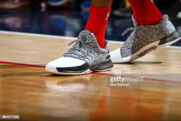 Sneakers of Kelly Oubre Jr #12 of the Washington Wizards during game against the Detroit Pistons on October 20 2017 at Capital One Arena in...