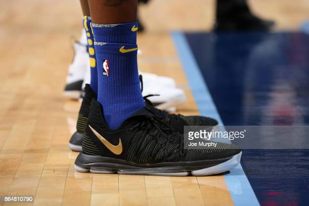 Sneakers of Kevin Durant during the game against the Memphis Grizzlies on October 21 2017 at FedExForum in Memphis Tennessee NOTE TO USER User...