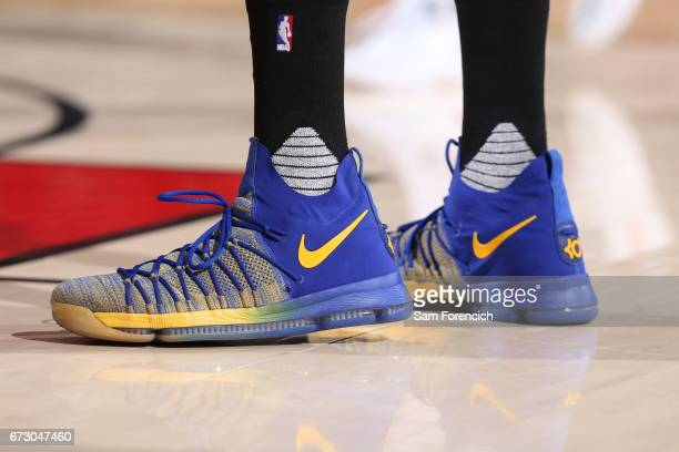 Sneakers of Kevin Durant of the Golden State Warriors during the game against the Portland Trail Blazers during Game Four of the Western Conference...