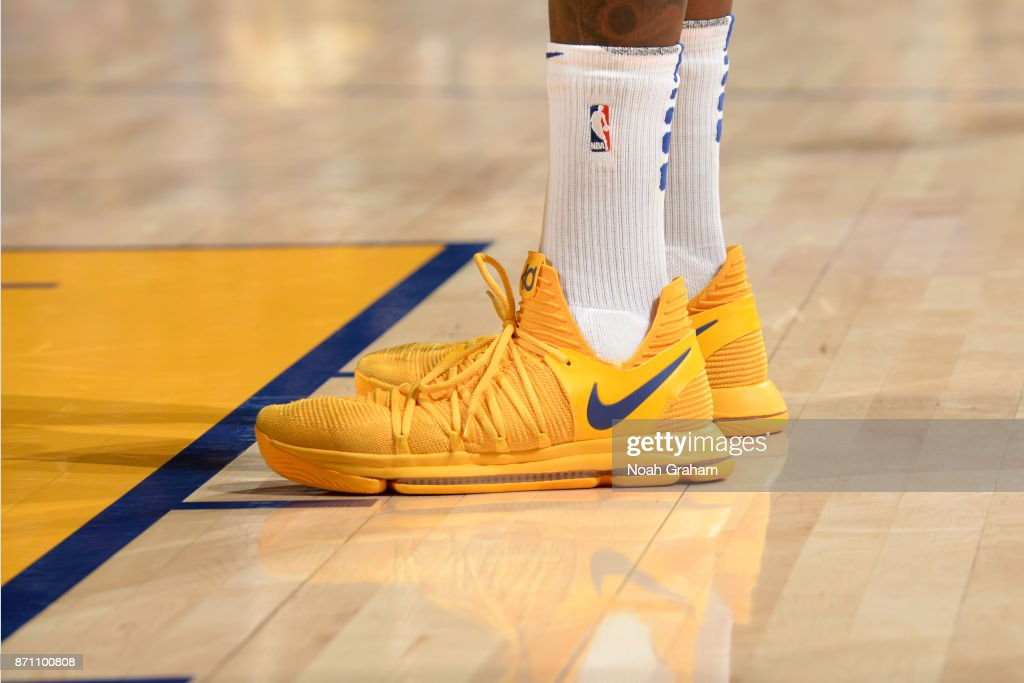 Sneakers Of Kevin Durant #35 Of The Golden State Warriors During The Game  Against The