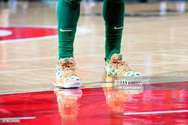 Sneakers of Kyrie Irving of the Boston Celtics during the game against the Atlanta Hawks on November 18 2017 at Philips Arena in Atlanta Georgia NOTE...