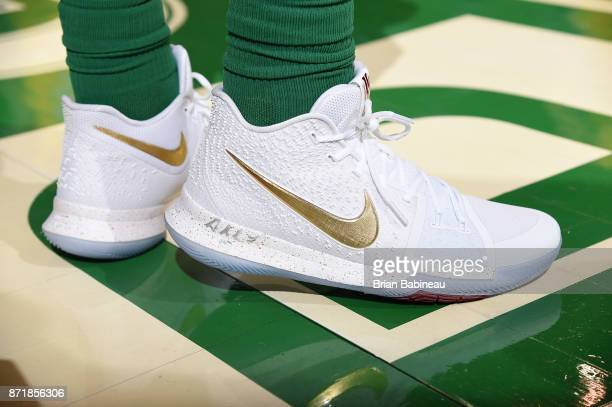 Sneakers of Kyrie Irving of the Boston Celtics on November 8 2017 at the TD Garden in Boston Massachusetts NOTE TO USER User expressly acknowledges...