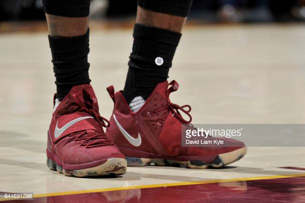 Sneakers of LeBron James of the Cleveland Cavaliers during the game against the New York Knicks on February 23 2017 at Quicken Loans Arena in...