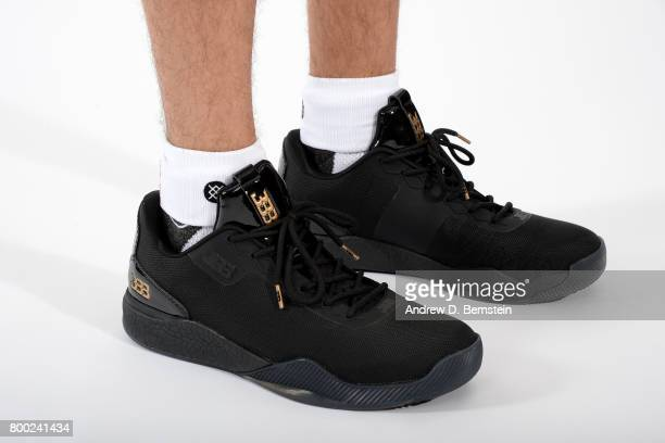 Sneakers of Lonzo Ball of the Los Angeles Lakers following a press conference to introduce Los Angeles Lakers 2017 NBA Draft picks in El Segundo...