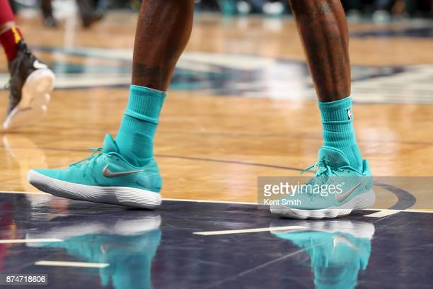 Sneakers of Marvin Williams of the Charlotte Hornets during the game against the Cleveland Cavaliers on November 15 2017 at Spectrum Center in...