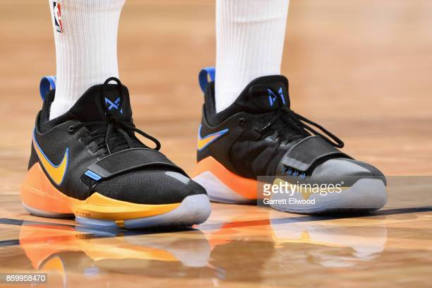 Sneakers of Paul George of the Oklahoma City Thunder during the game against the Denver Nuggets on October 10 2017 at the Pepsi Center in Denver...