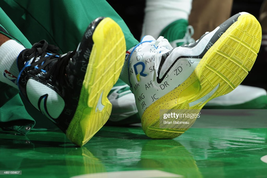 Sneakers of Rajon Rondo #9 of the Boston Celtics during the game against the Washington Wizards on April 16, 2014 at the TD Garden in Boston, Massachusetts.