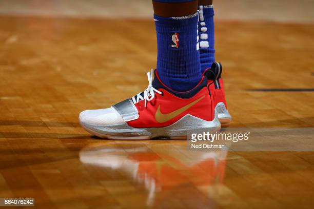 Sneakers of Reggie Jackson of the Detroit Pistons during game against the Washington Wizards on October 20 2017 at Capital One Arena in Washington DC...